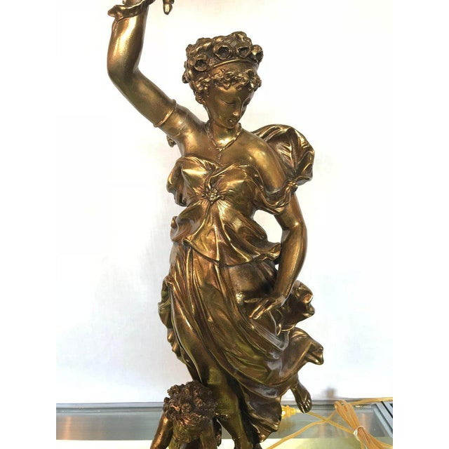 A large bronze figure woman and a child signed wright and butler by Duplex Burner Company. Possibly the finest Duplex...