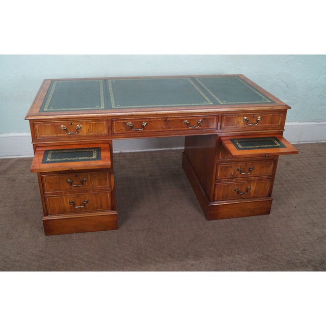 Country English Yew Wood Leather Top Executive Desk For Sale - Image 3 of 10