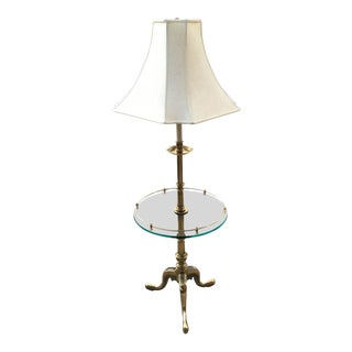 1960s Stiffel French Provincial Heavy Brass & Glass Table Floor Lamp W/ Silk Shade For Sale