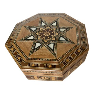 Late 20th C. Syrian Fruitwood Wood Box Inlaid With Mother of Pearl For Sale