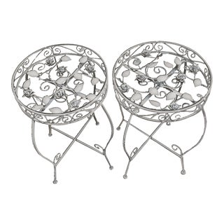 Palm Springs Regency White Iron Rose Bud Decorated Side Tables - a Pair For Sale