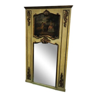 Antique Bucolic Trumeau Mirror For Sale