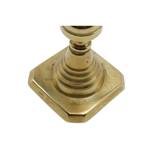 Gold Brass Candlesticks - a Pair For Sale In Boston - Image 6 of 8