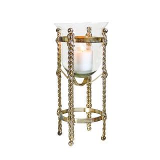 Mid-Century Tall Brass & Glass Candleholder