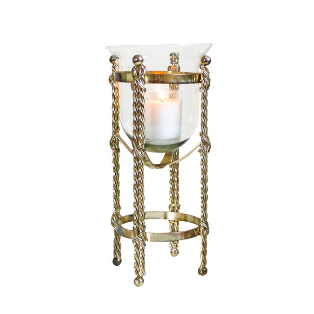 Mid-Century Tall Brass & Glass Candleholder For Sale