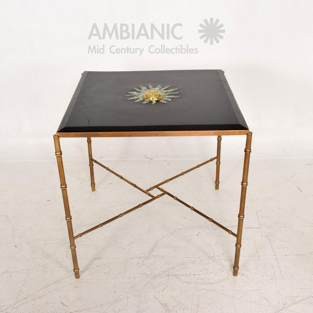 Mexican Modernist Centre Table in Brass, Wood & Malachite, Pepe Mendoza Square For Sale - Image 11 of 11