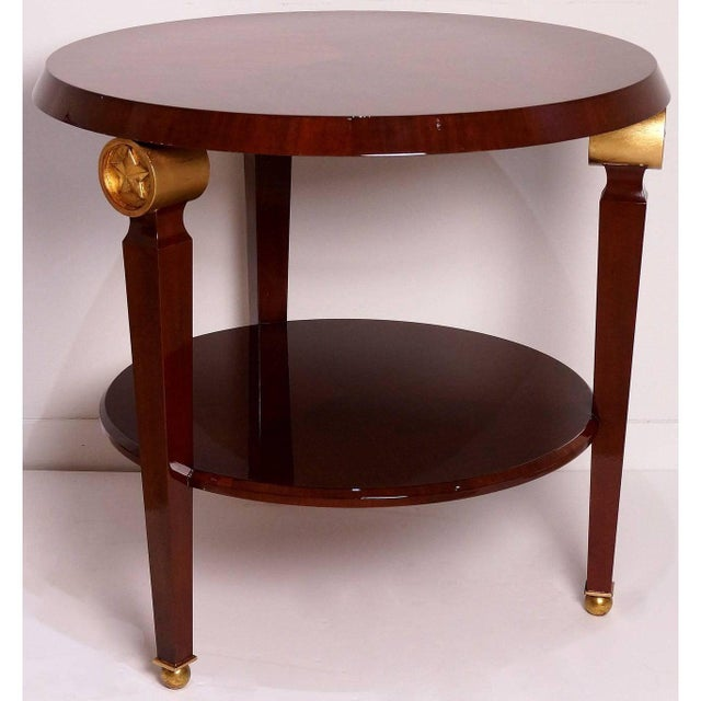 Mid-Century Maison Jansen Style Center Table Tiered Mahogany For Sale - Image 9 of 12
