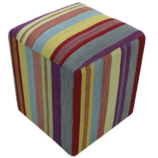 Hankins Purple & Red Handmade Kilim Upholstered Ottoman For Sale