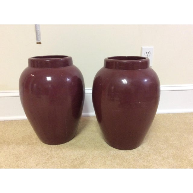 Decorative Maroon Urns - A Pair - Image 2 of 7
