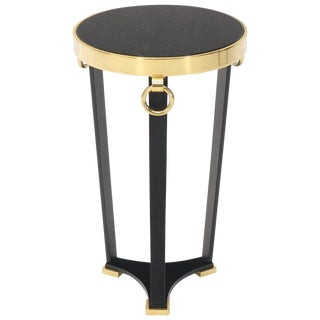 Brass and Round Black Granite Top Tri Legged Pedestal End Side Table For Sale