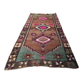 Antique Caucasian Geometric Design Rug - 4′7″ × 10′4″ For Sale