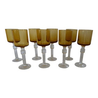 Amber Crystal Aperitif Glasses - Set of 8 For Sale
