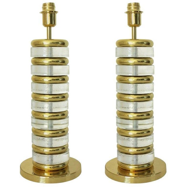 Gold Pair of Torre Lamps by Fabio Ltd (2 Pairs Available) For Sale - Image 8 of 8