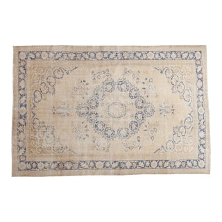 "Vintage Distressed Oushak Carpet - 6'5"" x 9'6"""