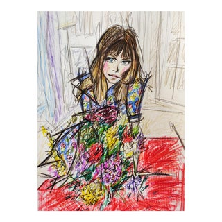 Color Pencil Sketch of 70s Icon Jane Birkin on A4 Hahnemühle Paper by Shirin Godhrawala ,2020 For Sale