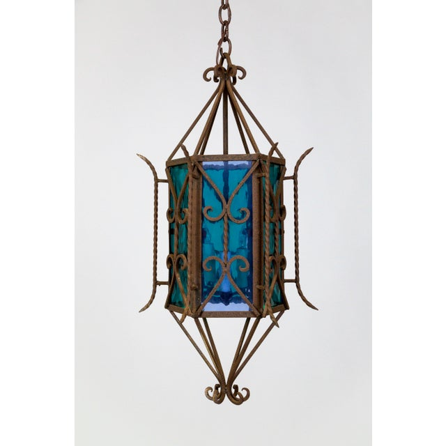 1920s Gothic Revival Lantern With Blue & Green Glass For Sale - Image 11 of 11