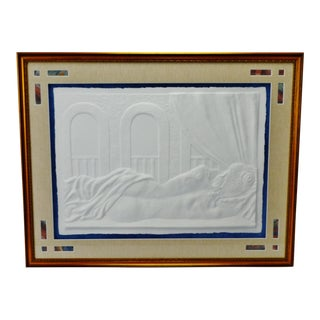 Vintage Framed Female Nude Blind Embossed Arches Paper Art - Artist Signed For Sale