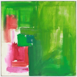 20th Century Large Abstract Expressionist Oil Painting in Green, Red and Pink For Sale