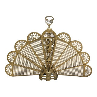 Vintage Brass Peacock Fire Screen