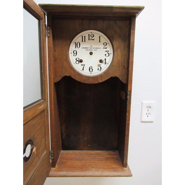 Oak Antique American Classical Style Oak Time Recorder Clock For Sale - Image 7 of 7