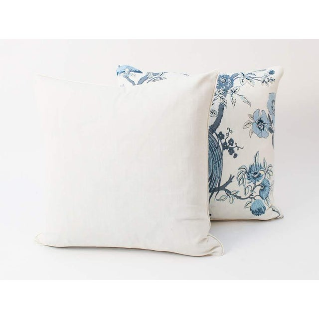 Asian Blue and Ivory Chinoiserie Bird Pillows, a Pair For Sale - Image 3 of 8