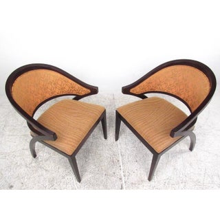 Pair of Gunlocke Sculpted Back Armchairs Preview