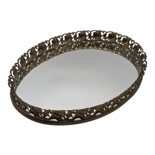1960's Brass Floral Filigree Oval Mirror Vanity Tray For Sale