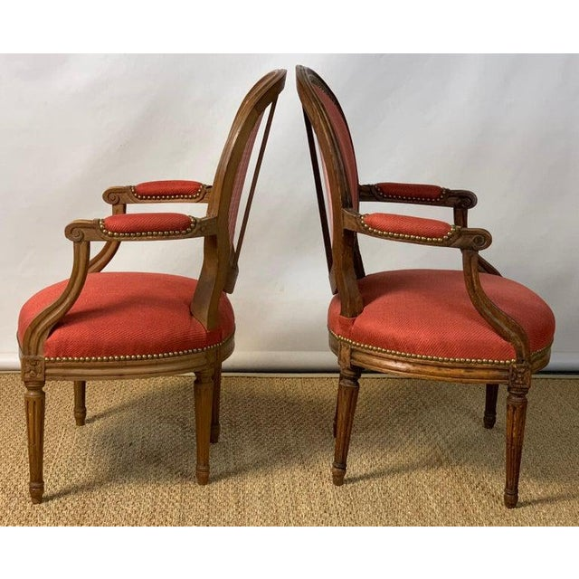 Late 18th Century Pair of French Louis XVI Beechwood Fauteuils For Sale - Image 5 of 12