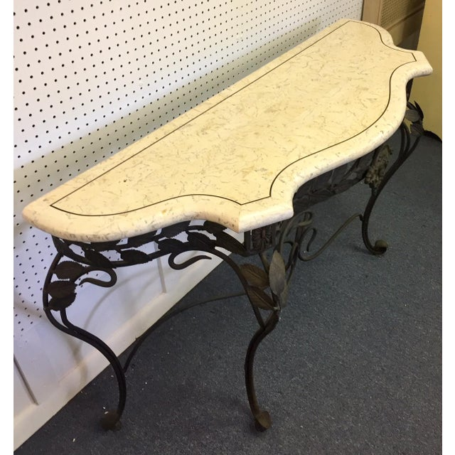 White Antique Faux Marble and Iron Console Table For Sale - Image 8 of 11
