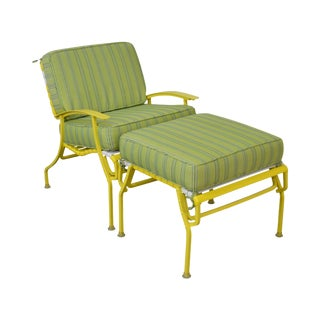 Mid Century Modern White & Yellow Vinyl Strap Patio Lounge Chair w/ Ottoman For Sale