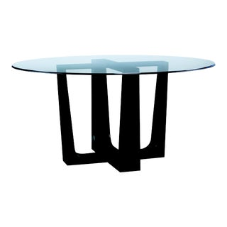 Century Furniture Bowery Place Dining Table with Glass Top, Night For Sale