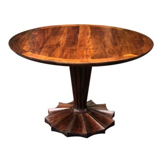 Elegant Art Deco Style Carved Walnut Pedestal Breakfast Dining Table For Sale