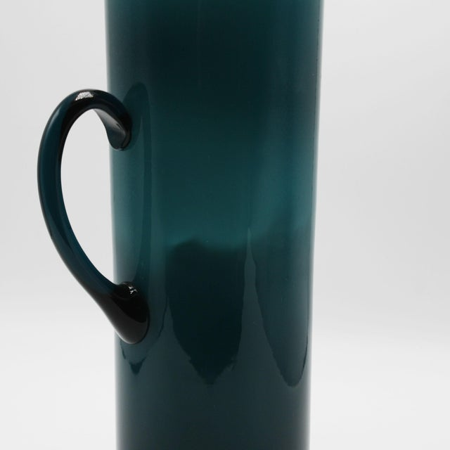1960s Moretti Empoli Teal Cased Glass Pitcher, C. 1960 For Sale - Image 5 of 6