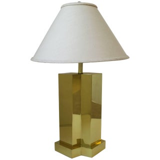 Modern Brass Table Lamp in the Style of Designer Paul Evans Ca. 1970s For Sale