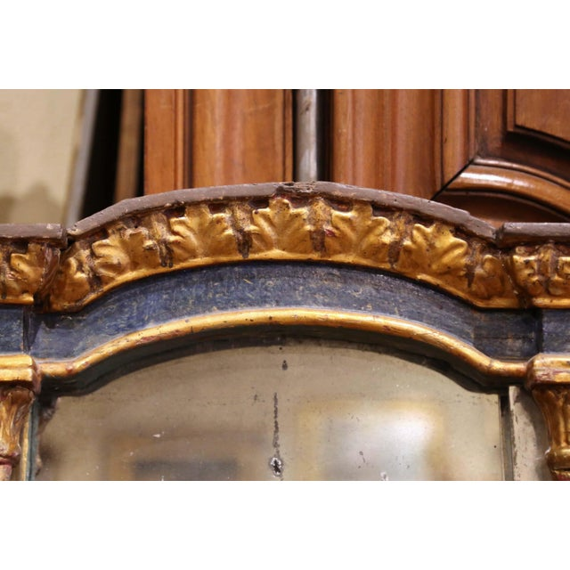 Mid-18th Century Italian Baroque Carved Polychrome and Giltwood Wall Mirror For Sale In Dallas - Image 6 of 13