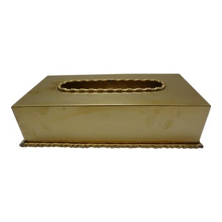 Vintage Mid-Century Brass Tissue Box Cover