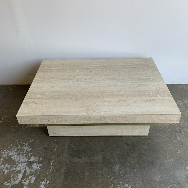Faux Travertine and Brass Coffee Table For Sale - Image 4 of 12