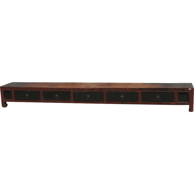 Long and low 5 drawer coffee table Origin: China Material: Wood Year: Late 19th C. Province of China: Shandong Type of...