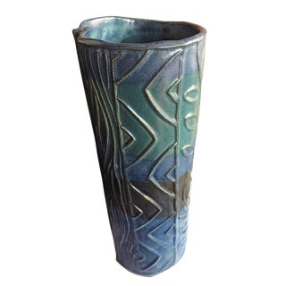 Signed Abstract Geometric Studio Pottery Ceramic Vase For Sale