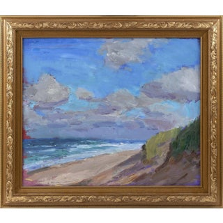 """Windy Beach"" Contemporary Abstract Seascape Oil Painting by Larry Horowitz, Framed For Sale"
