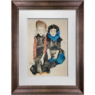 """1960s Vintage Egon Schiele """"Two Little Girls"""" Signed Lithograph Print For Sale"""
