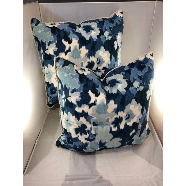 Robert Allen Robert Allen Abstract Pillows With Trim - a Pair For Sale - Image 4 of 10