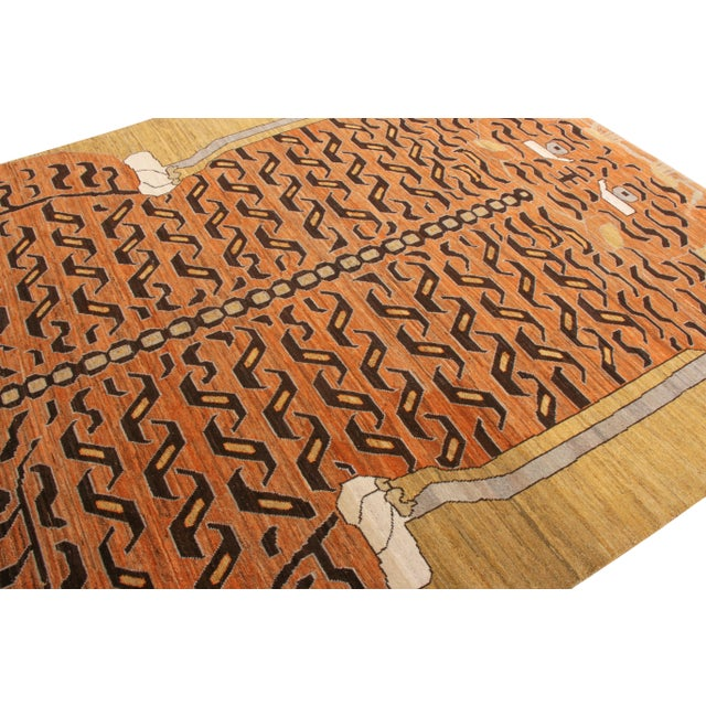 Chinese Handknotted Regal Geometric Tiger Rug, Wheat Gold, 9'x14' For Sale - Image 3 of 9