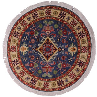 "Smoot Blue Wool Round - 4'10"" X 4'10"" For Sale"