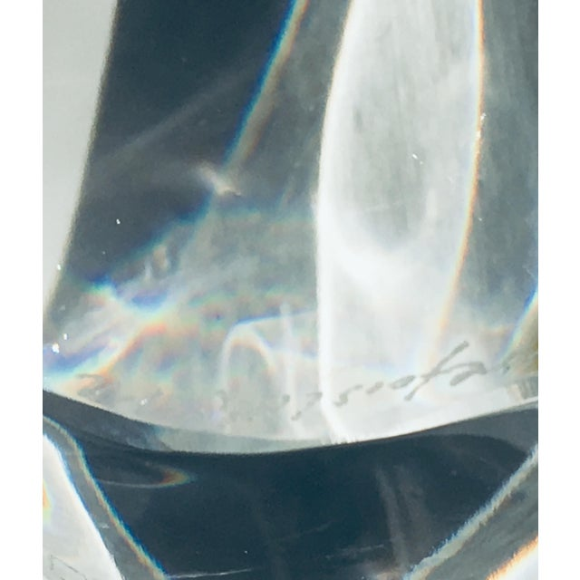 1990s Lars Hellsten Crystal Lotus Bowl by Orrefors Scandinavian Modern Art Glass For Sale - Image 5 of 6