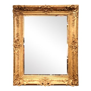Large 19th Century French Carved Giltwood Wall Mirror With Beveled Glass For Sale