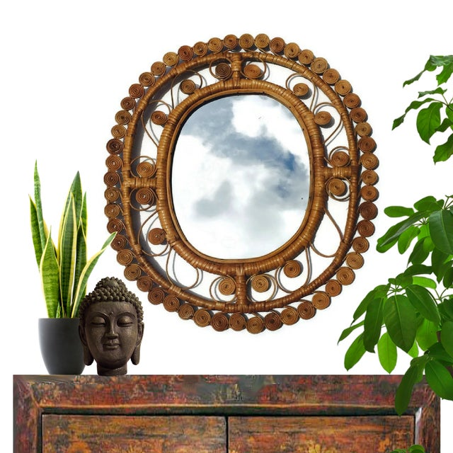 Vintage Rattan & Bamboo Peacock Curl Mirror - Image 4 of 8