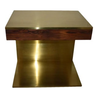 Single Rosewood & Solid Brass Side Table For Sale