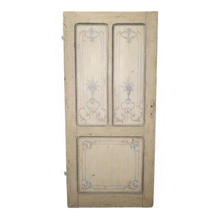 Blue and White Painted Antique Door From Lombardy, Italy Circa 1850 For Sale