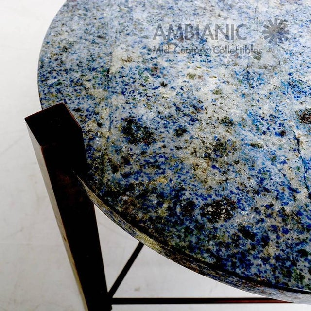Blue Granite & Solid Bronze Side Table For Sale - Image 10 of 10